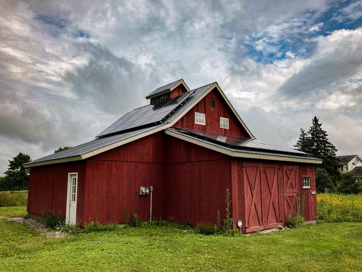 solar on red barn