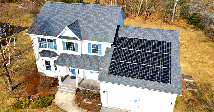 solar panels installed by Green Mountain Solar in Vermont on a roof