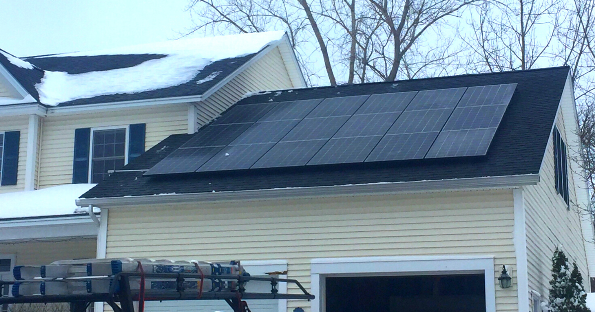 solar panels on garage roof in Vermont