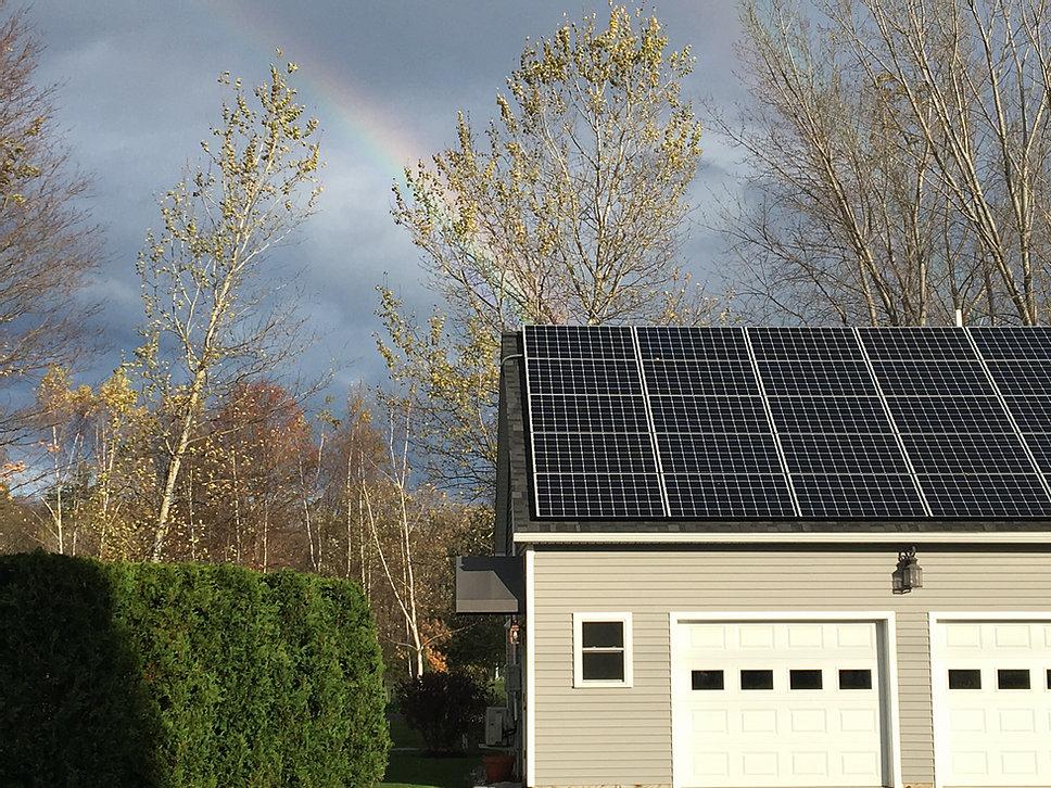 Rainbow over solar panel install <b>Ferrisburgh Vermont Solar Install</b>