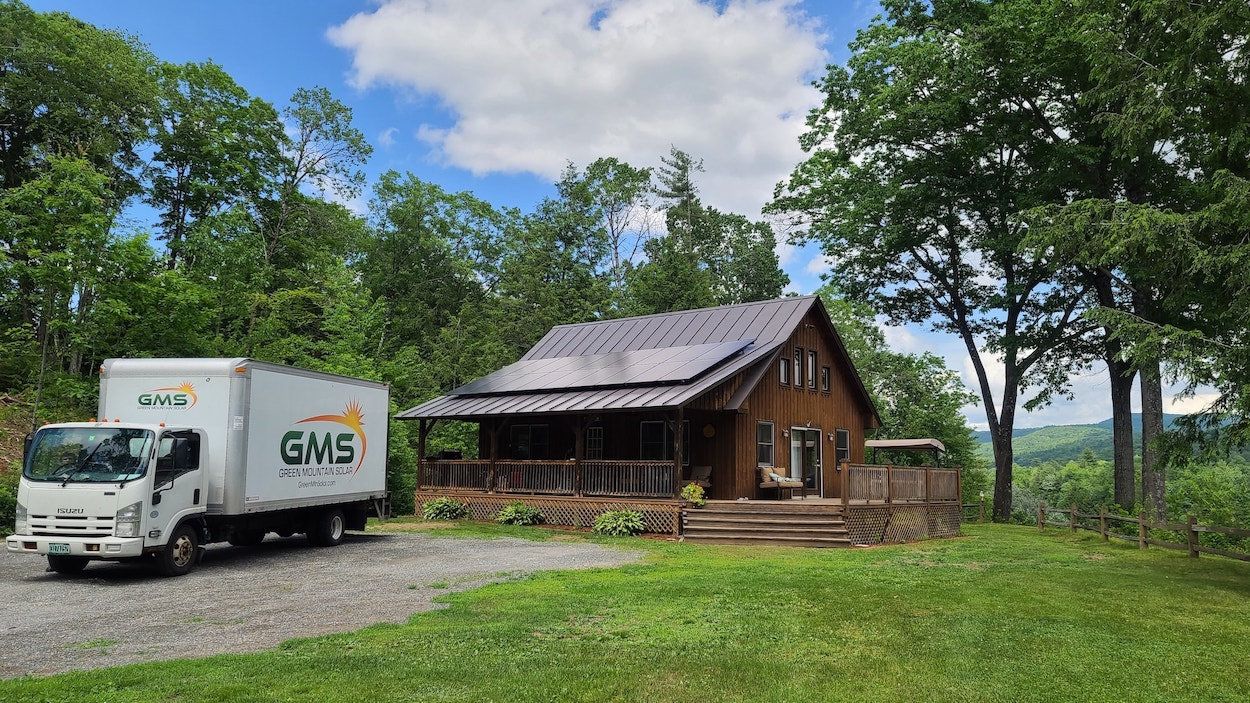 Next Level Efficiency with Rooftop Solar for this VT Cabin.